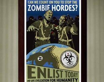 World at War Zombie Recruitment Poster - 11x17