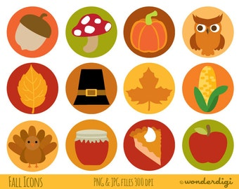 Thanksgiving ClipArt - Clip Art Fall Icons- Autumn, Harvest Collage Sheet Circles - INSTANT DOWNLOAD