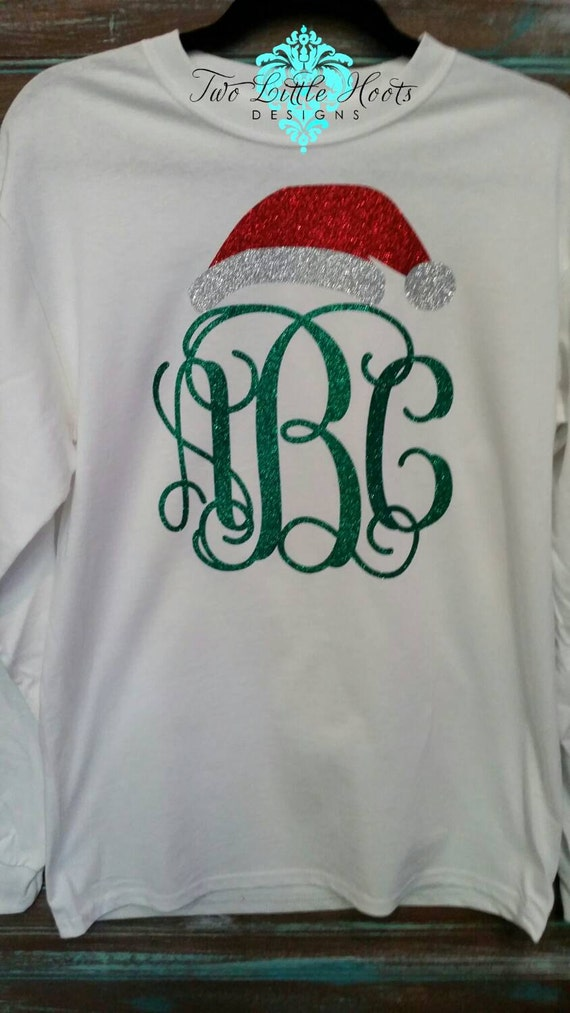 items similar to santa hat glitter christmas monogram  adult long sleeve  on etsy