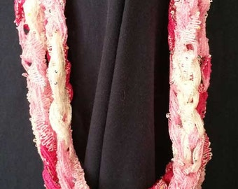 Breast Cancer Infinity Scarf - Handwoven pinks.