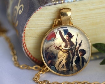 LIBERTY Necklace Art Pendant Necklace by Eugène Delacroix - Liberty Leading the people - Jewerly Famous Painting French Romantic (206)