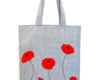 Hand made tote bag with poppies applique. Tote fabric bag. Bag with poppies.