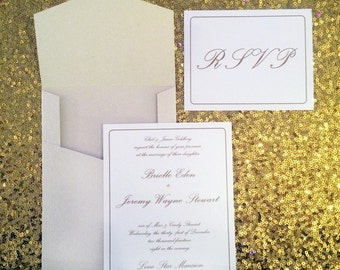 5x7 Elegant Classic Gold/Rose Gold Script Wedding Invitation with Pocket and Postcard RSVP