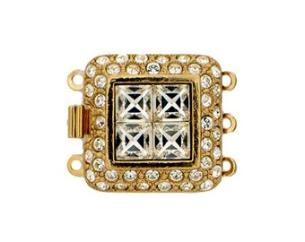 Three-Strand Square Clasp with Four Center Swarovski Crystals in Gold or Rhodium, 19x19mm