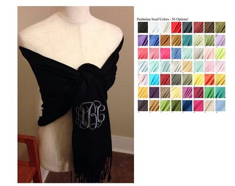 Monogrammed Gifts - Pashmina Scarves Luxe - Custom Color Combinations
