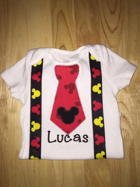 Mickey Mouse Applique Shirt Or Bodysuit With Name Number Tie