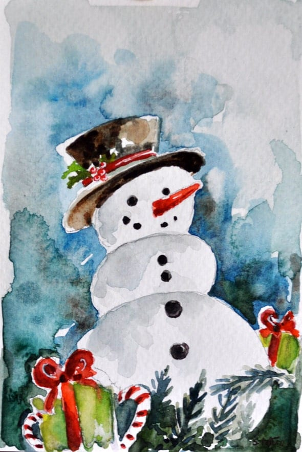 Original watercolor painting snowman christmas card holiday - Aquarell weihnachten ...