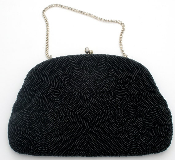 vintage black purse beaded glass evening