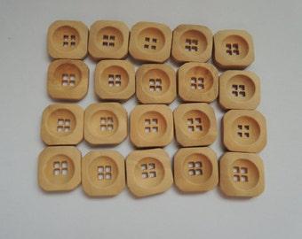 20Pcs  16X16mm square wood button 4 holes no varnish ( W944)