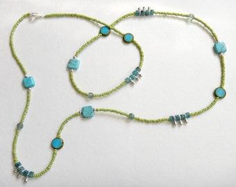 Handmade beaded necklace with Turquoise and Czech Glass