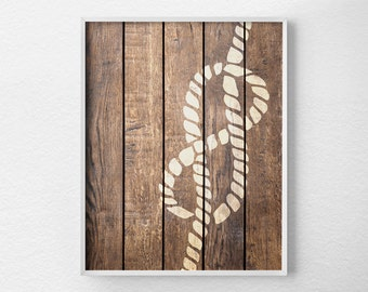 Nautical Rope Decor, Nautical Print, Nautical Decor, Rustic Nautical Print, Faux Wood Nautical Art, Beach Art, Beach Decor, 0287