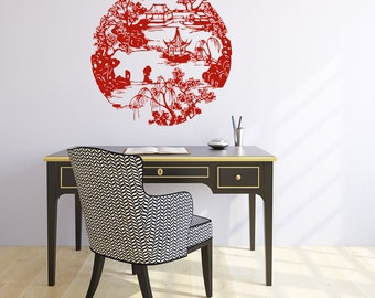 Chinese Landscape Architecture WALL DECAL Graphics Decor Office Restaurant Decor ArquitectureMany Colors