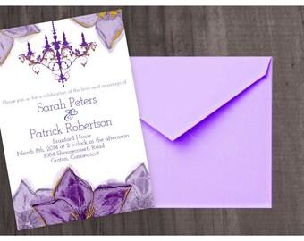 Chandelier Watercolor Elegant Wedding Invitation
