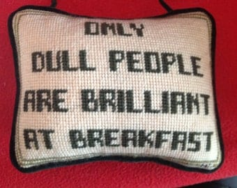 Embroidered Pillow as Door Hanger