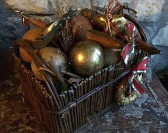 Christmas Basket filled with Dried Gourds and Golden Hearts