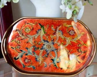 Wood Tray with hand painted Glass