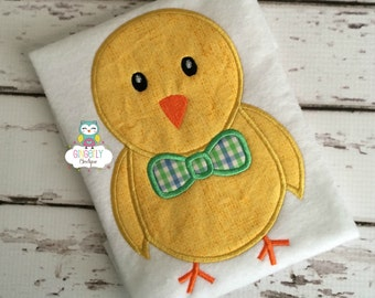 Boy Chick with Bow Tie Easter Shirt or Bodysuit, Boy Easter Shirt, Boy Chicken Shirt, Chicken with Bow Tie Shirt, Easter Egg Hunt Shirt