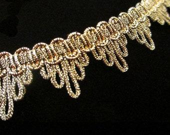 "725.2 Metallic gimp trim - ""Bearclaw"" antique-gold - 7/8"" (22mm)"