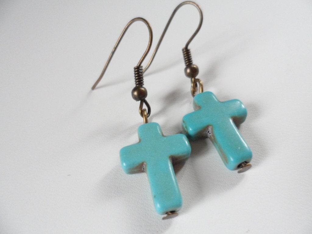 Turquoise Cross Gemstone Earrings by DaniJessBoutique on Etsy
