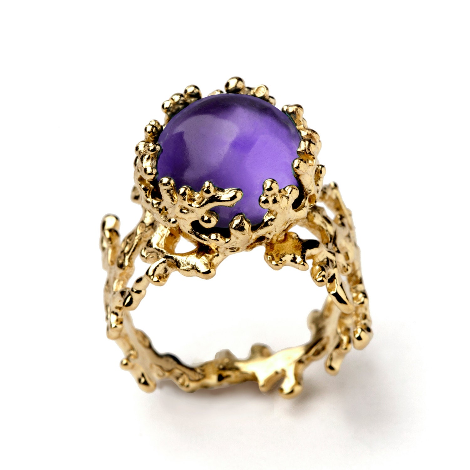 Cushion Cut Amethyst Ring Gold