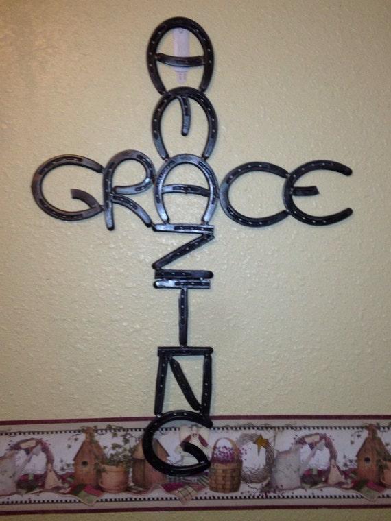 Amazing Grace Wall Hanging Horseshoe Cross