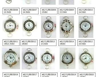 Watch Face Narmi and Geneva Silver Round Loop Watch Faces Beading Watch Face Silver Round Watch Face - 1 Piece