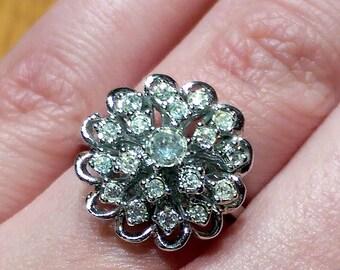 Stunning Vintage Crystal Floral Ring