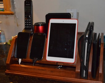 Phone Charging Station For Multiple Phones And Tablets. Solid Wood, Custom  Designed For Your