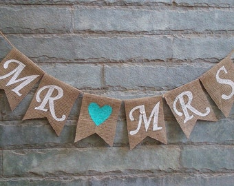 MR MRS Burlap Banner – Wedding Banner, Engagement Banner, Reception Banner, Wedding sign, Anniversary Banner, Photo prop.