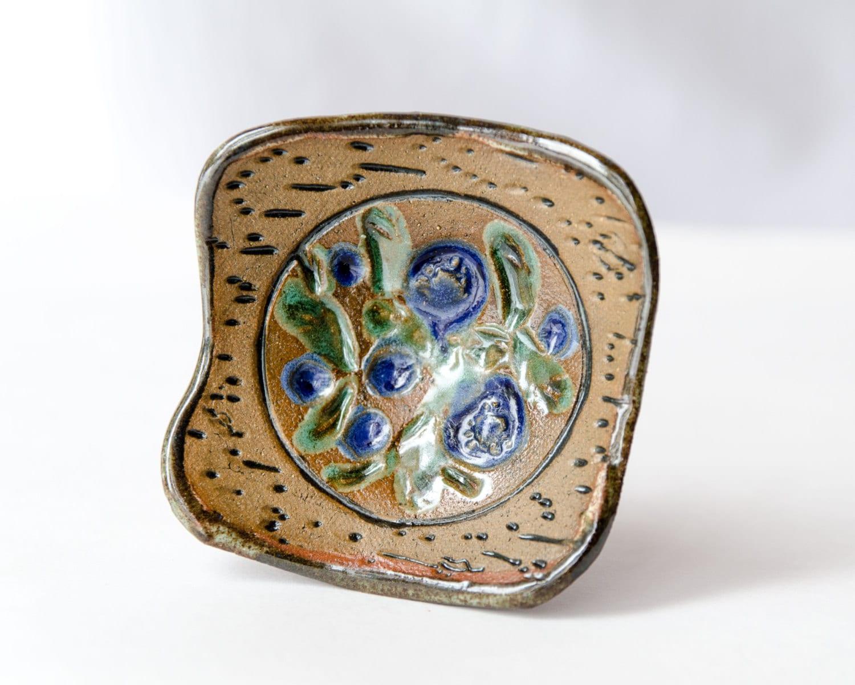 Blueberry Dish Handmade Stoneware Pottery Jewelry Bowl