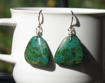 20%SALE!! Beautiful Chrysocola Dangle Earrings Silver Wire Wrapped with French Ear Wires