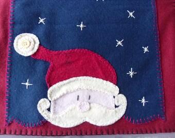 Wool Felt Table Runner Santa, Christmas, FREE SHIPPING!