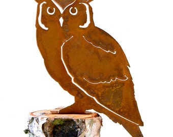 B727 Screech Owl Steel Silhouette with Rusty Patina