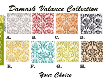 Damask Valance. Damask Window Treatment.Damask Window Valance.Damask Valance.window Treatment