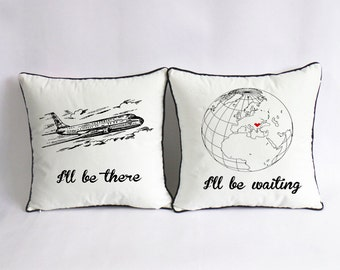 long distance love pillow case, custom long distance boyfriend gift, map cotton anniversary gift for her, i'll be there, i'll be waiting