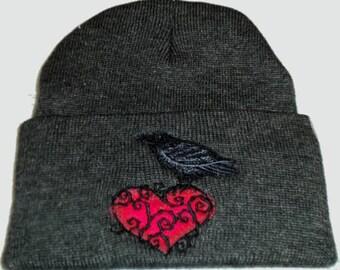 Raven Heart Embroidery Beanie Hat Gothic Pagan Wiccan Bird Raven Bird