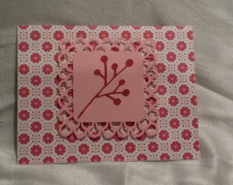 Pink Cherry lace greeting Card Set of 6