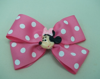 Pink Minnie hair BOWS one with Barrette clip, Polka Dot Girls Hair Bow, Pink Bow, White Dots
