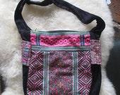 Vietnam Hmong Cotton Embroidered Hemp Shoulder Bag (Pink)
