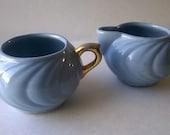 Beautiful Vintage 1950s Set of Light Blue & Gold Ceramic Creamer Sugar Bowl