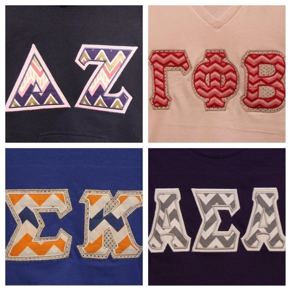 custom chevron greek letter t shirt