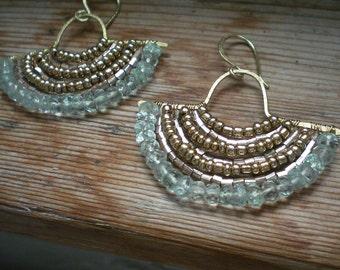 Aquamarine earrings // aquamarine jewelry // brass earrings