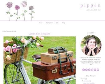 Blogger Template - Purple Watercolor Flower Design - Instant Download