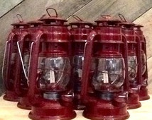 Valentine Lanterns, Dark Red w/LED Tealights, Rustic Railroad Lantern, Hurricane Oil Lamp, Industrial Rustic Decor, Valentine Gift for him