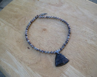 one of a kind multicolor jasper and sterling silver necklace