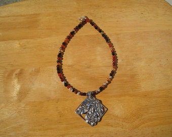 one of a kind vintage sterling silver pendant of  flowers and fire agate necklace
