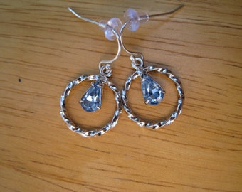 vintage sterling silver earrings with blue crystal