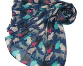 Cat Scarf in Navy Blue, Ladies Pink Cream Turquoise Cats Wrap
