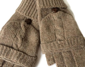 Cable knit Gloves, Brown Knitted Gloves, Taupe Fingerless Gloves, Ladies Beige Winter Mittens, Mitts