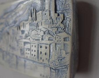 Vintage Bertuzzi, Castle of Malcesine Ceramic Relief Art Tile, Italy, Verona, Veneto, Venice, Wall Hanging Ceramic Art Tile, Wall Sculpture